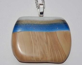 Polymer Clay Pendant Faux Wood Grain Blue Striped Pendant Gold Blue White Stripes