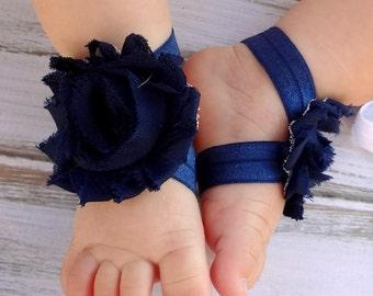 Navy Blue Baby Barefoot Sandals - Newborn Baby Barefoot Sandals - Newborn Clothing  - Baby Clothing Photography Prop Toddler Sandals