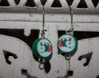 SALE // Apple Bead Earrings // apples // earrings // jewellery // quirky jewellery // gifts for her // green // dangly earrings