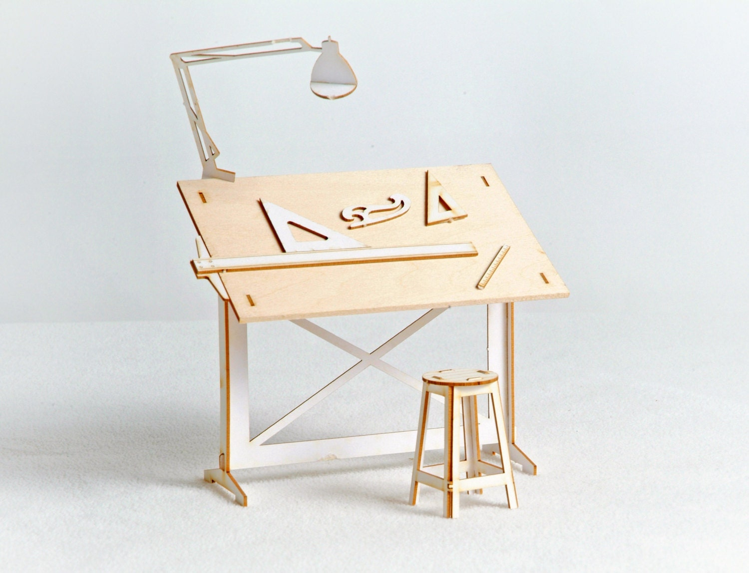 Miniature drafting table model kit with real wood tabletop for Architecture drawing tools