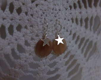 Silver earrings with Moonstone and Star