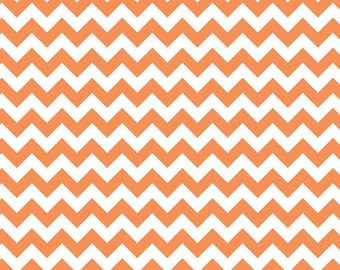 Riley Blake Fabric Small Orange and White Chevron