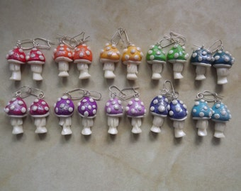 Fabulous hand made GLOW in the Dark toadstool earrings, made to order.