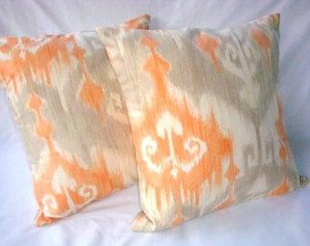 Throw Pillows. Orange Pillow. Ikat Pillow Cover. Pillow Cover. Beige Pillow. Fall Pillow