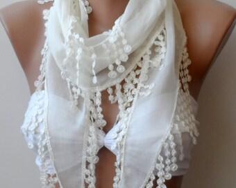 Cream summer cotton scarf, Super Elegant scarf...Cream scarf, Guipure, LACE scarf, Summer Scarfs, Trendy scarf, fringe, CREAM scarf