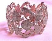 Gold Lace Textured Flower Butterfly Art Nouveau Vintage Antique Style Filigree Delicate Pretty Wide Cuff Bracelet Bangle