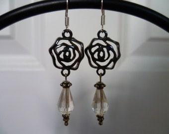 Metal Flower and Crystal Dangle Earrings
