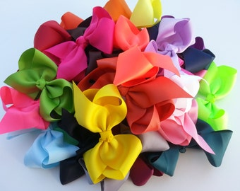 "10%OFF/ free ship/ 8 Bows/ 5 1/2""-6"" Hair bow/ Large hair bow/ Infant hair bow/ Girl hair bow/ Baby hair bow/ Toddler hair bow/ Birthday bow"