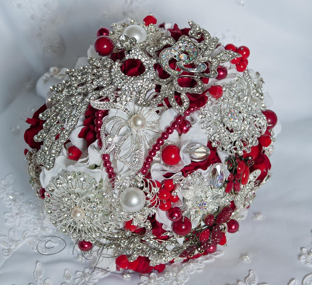 White And Red Wedding Flowers: Crystal Silver White And Red Wedding Bouquet. By Rubybloomscom