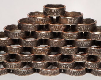 State quarter coin ring you pick state and size