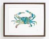 Blue Crab Art Watercolor Painting - 8x10 Archival Print - Atlantic Blue Crab Print - Teal, Blue and Gray Crab Silhouette Art, Sea, Nature