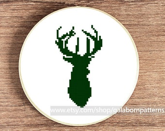 PDF counted cross stitch pattern - Deer - Silhouette animals