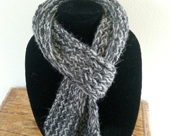 Tweed Gray Crocheted Scarf
