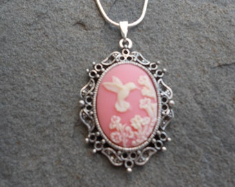"Stunning Ivory Hummingbird (on a pink background) Cameo Pendant Necklace---.925 plated 22"" Chain--- Great Quality"