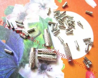 Wholesale 100pcs 12x4mm silver stainless steel wire screw clasps