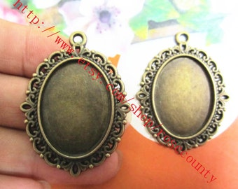 Wholesale 100pcs  40x30mm Antiqued Bronze flower oval cabochon base/cameo(25x18mm) setting pendants blank