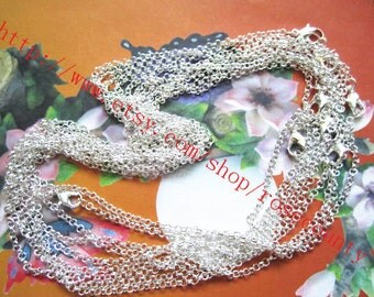 100pcs 18 inch silver plated solided oxo chain necklace with lobster clasps