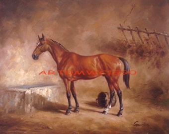 Sold - A Bay Horse in a Stable - Original oil painting on canvas - Signed Gaoming  - Frame not included