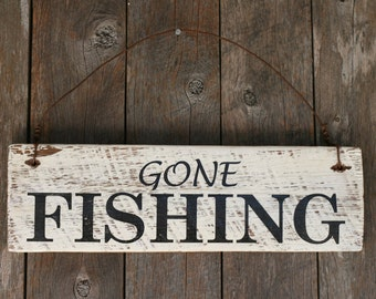 Rustic Wooden Sign made from reclaimed fence palings - Gone Fishing
