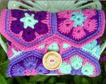 Ready to Ship: African Violet Crochet  Flower Hexagon Clutch
