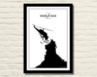 World War Z 11 X 17 Art Print, Poster, Minimalist, Home Decor