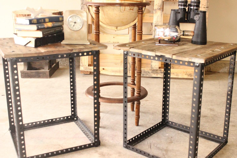 industrial end tables. Black Bedroom Furniture Sets. Home Design Ideas