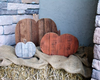 Reclaimed Barn Wood Pumpkin Set,fall Porch Decor,distressed,wooden,halloween ,