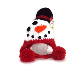 Snowman baby hat - Christmas hat - Acrylic - Hanknitted