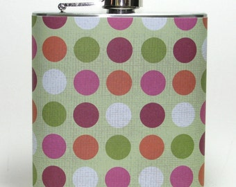 Party Polka Dot Print 6 or 8 oz Size Stainless Steel Liquor Hip Flask Flasks Gift Idea