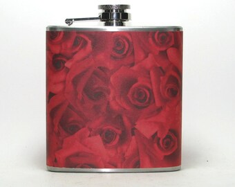 Red Roses Flowers 6 oz Size Stainless Steel Liquor Hip Flask Flasks Wedding Bridesmaids Gift Idea