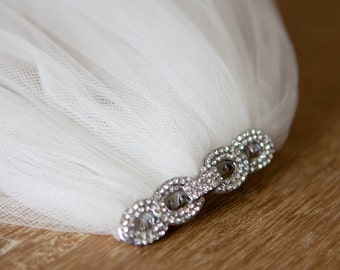 Dramatic Extra Wide Crystal Comb Wedding Veil (Cathedral, Chapel, Finger Tip, Elbow, High Volume, Illusion Tulle Bridal Veil)