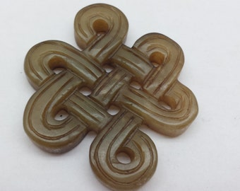 "Serpentine stone  Endless Knot 2"" pendant"