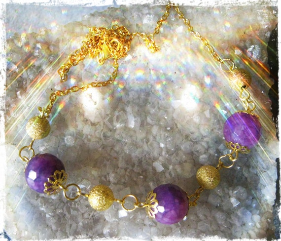Handmade Gold Necklace with Facetted Purple Jade by IreneDesign2011