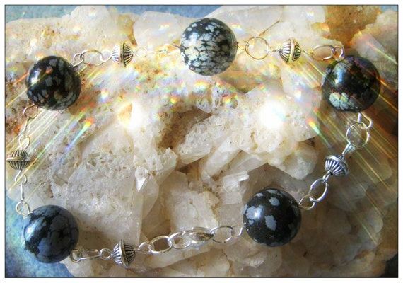 Handmade Silver Bracelet with Snowflake Obsidian by IreneDesign2011