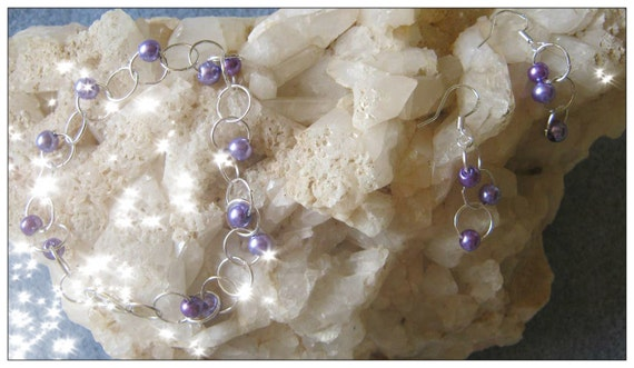 Handmade Silver Jewelry Set with Purple Pearls by IreneDesign2011