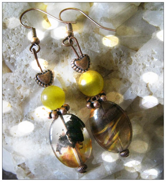 Handmade Copper Earrings with Watermelon Tourmaline & Yellow Jade by IreneDesign2011