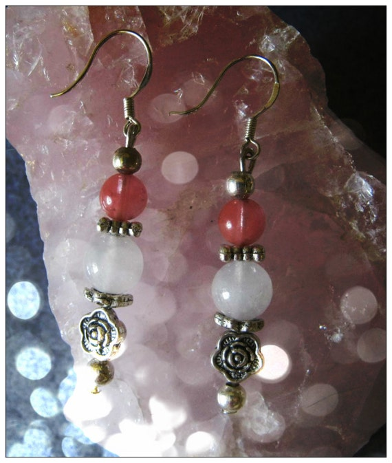 Handmade Silver Earrings with Opal, Strawberry Quartz & Roses by IreneDesign2011