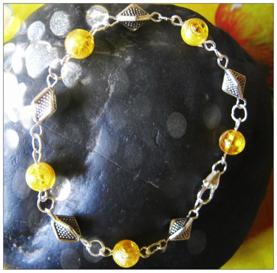 Handmade Silver Bracelet with Crackled Amber by IreneDesign2011