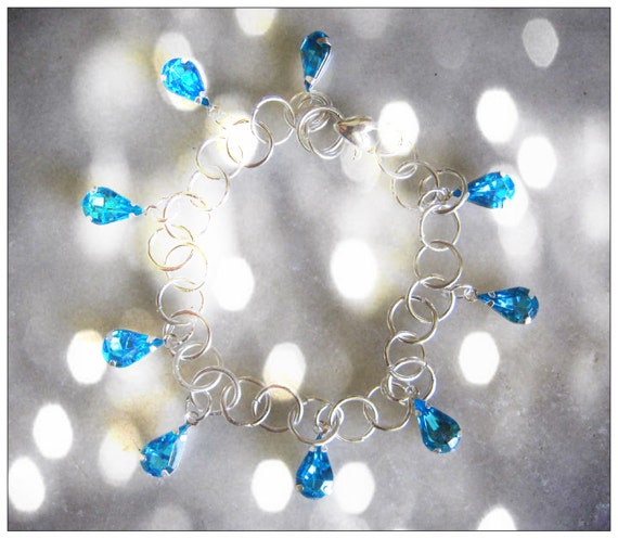 Handmade Silver Bracelet with Blue Rhinestone Tear Drops by IreneDesign2011