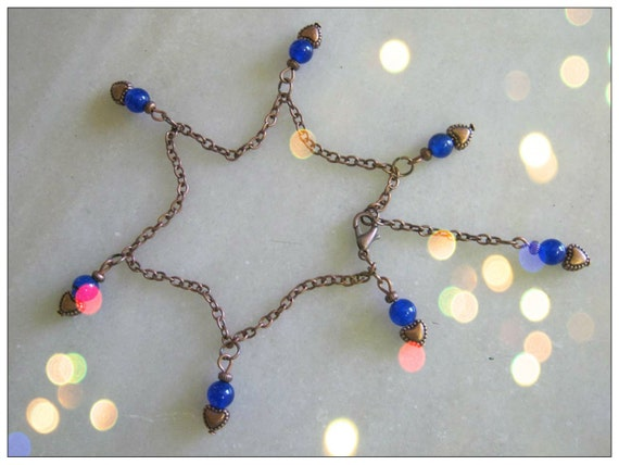 Handmade Copper Anklet with Blue Sapphire & Hearts by IreneDesign2011