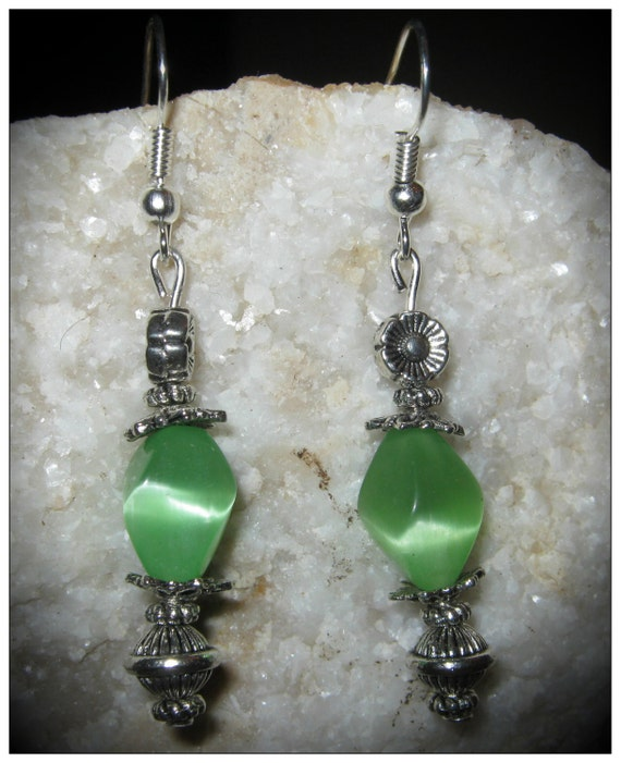 Handmade Silver Earrings with Shaped Green Cat Eye & Flowers by IreneDesign2011