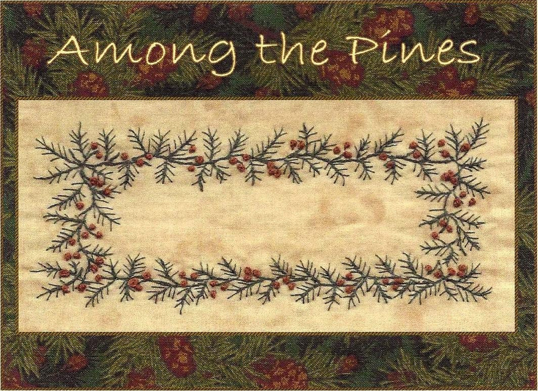 Among the pines quilt label hand embroidery pattern by