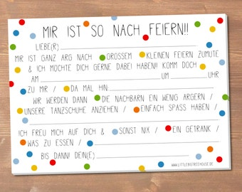 Party-invitation-pad (in german) 50 sheets