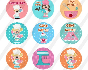 INSTANT DOWNLOAD Cake Party 4x6 Bottle Cap Images Digital Collage Sheet for bottlecaps 1in