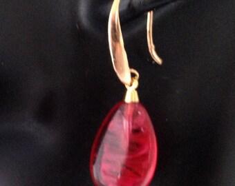 Designer Handmade Flawed  Ruby Red  Art  Glass Earrings