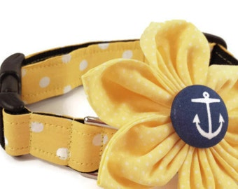 Yellow Polka Dot Dog Collar and Flower Set, Adjustable Sizes for Small to Extra Large Dogs