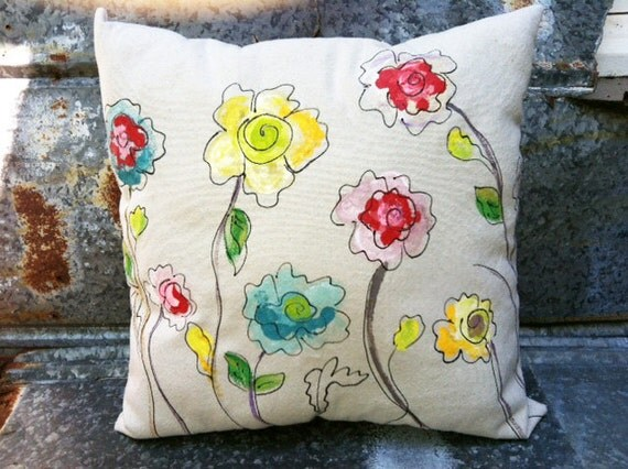 Poppy Outdoor Pillows Hand-painted Pillows Blue Red Yellow