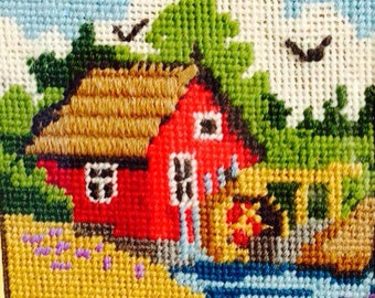 Vintage Country Barn Needlepoint