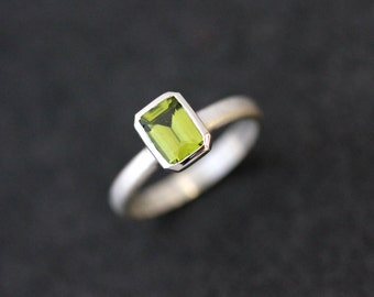 Emerald Cut Peridot Ring in  Sterling Silver, Spring Green Gemstone Birthstone Ring, Stacking RIng or Stacking