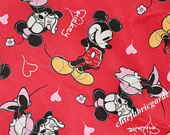 Cotton Fabric - 1 Meter Animal Cartoon Character - Mickey Mouse Fabric - Minne Mouse fabric - Love - Red  (W140cm)